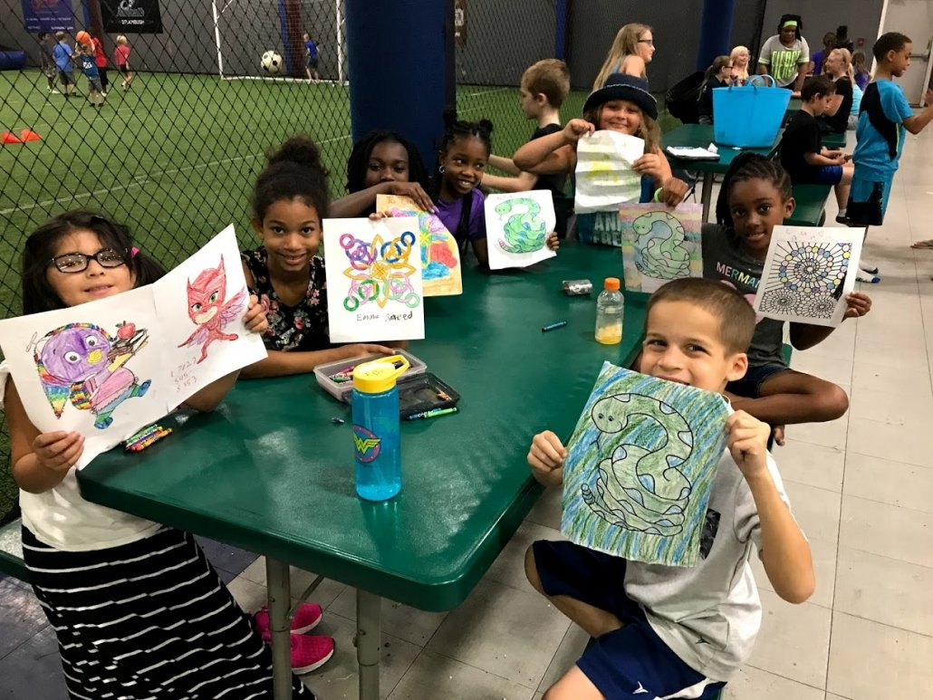 day camp kids coloring
